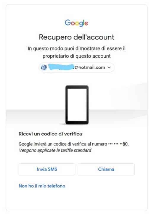 gmail recupero password