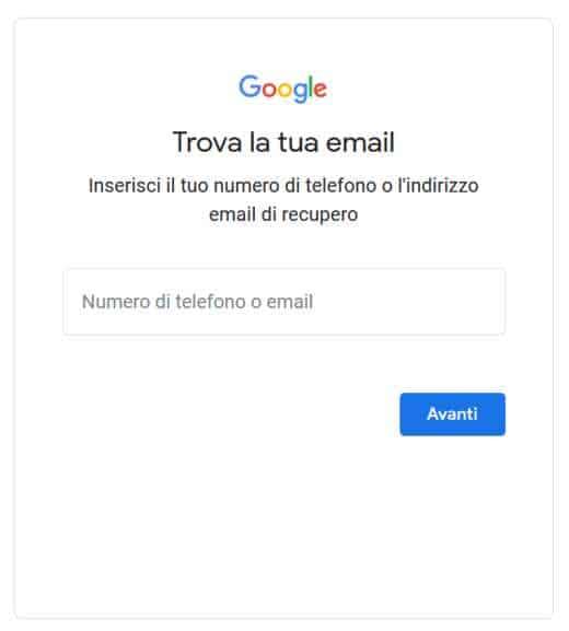 recuperare password gmail