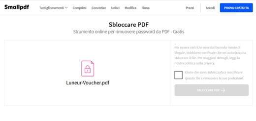 sblocco pdf