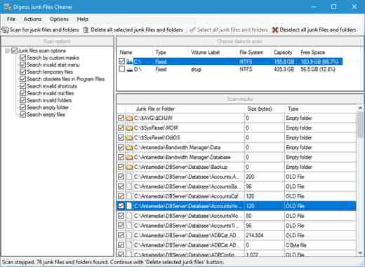 11 Digeus Junk Files Cleaner - Programmi per eliminare file inutili