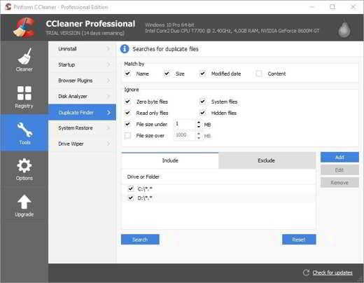 2 ccleaner - Programmi per eliminare file doppi