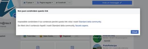 non puoi condividere link con facebook
