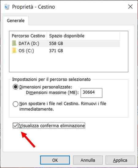 Come chiedere conferma eliminazione file Windows 10