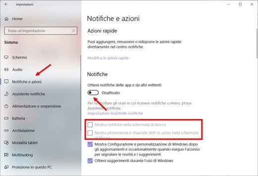 Come togliere Centro Notifiche Windows 10