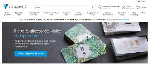vistaprint biglietti da visita