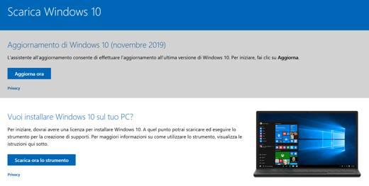 aggiornamento windows 10