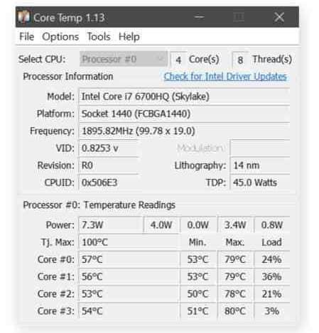 temperatura massima cpu