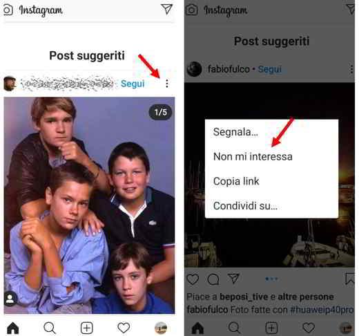 i suggeriti di instagram