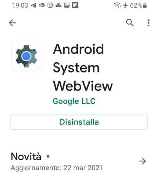 Come attivare Android System WebView