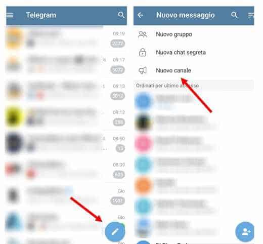 crea canale telegram