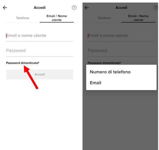 come cambiare password su tiktok