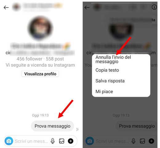 Annullare invio messaggio Instagram