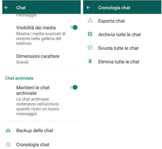 chat archiviate whatsapp