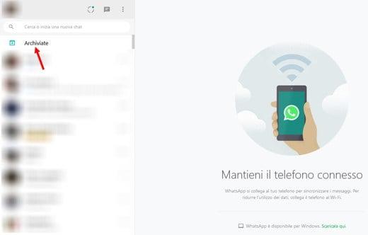 archivio messaggi whatsapp