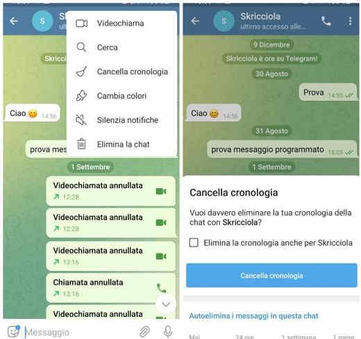 Come eliminare i messaggi da Telegram