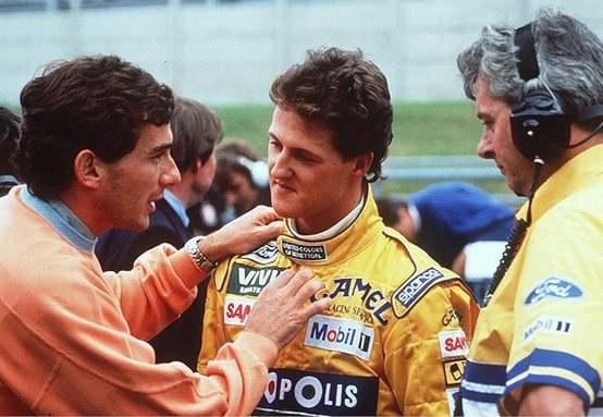 Schumacher e Ayrton Senna