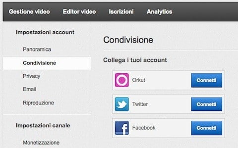 Condivisione video Youtube