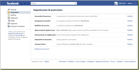 disattiva account facebook