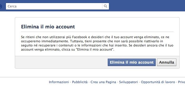 Elimina account Facebook