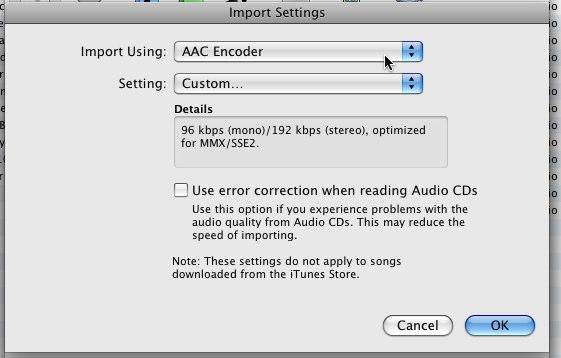Impostazioni importazioni CD iTunes