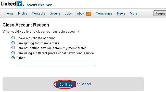 Continua con la chiusura profilo Linkedin