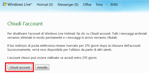Chiudi Account Windows Live
