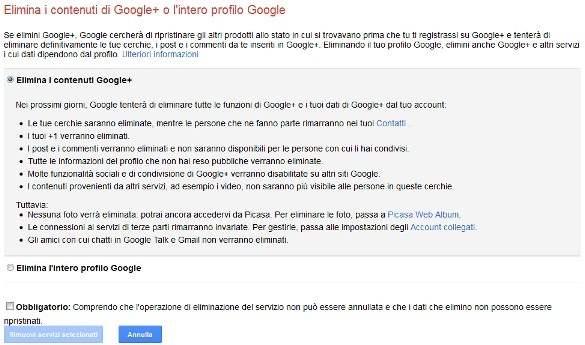 Elimina l'intero profilo Google +