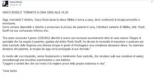 motivi del ricovero di Vasco Rossi