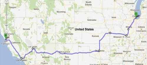 Mappa Coast to Coast USA