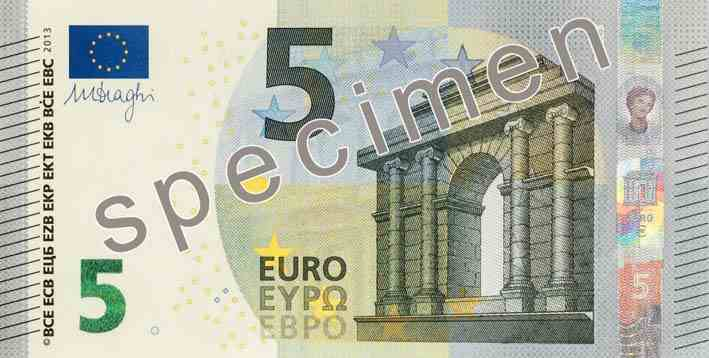 banconota da 5 euro fronte