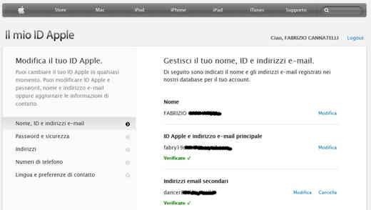 Gestisci ID Apple