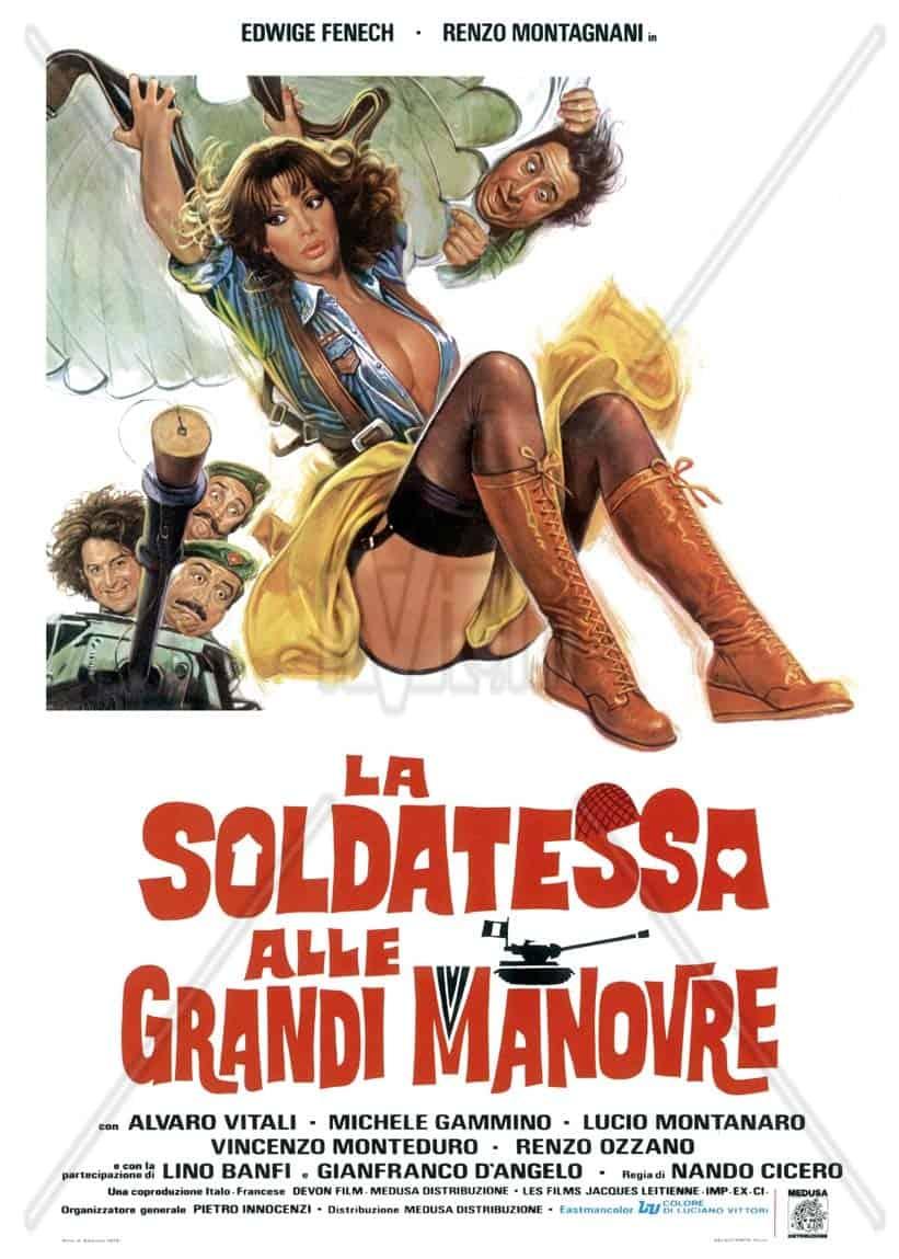 La locandina di uno dei film cult italiani: La soldatessa alle grandi manovre