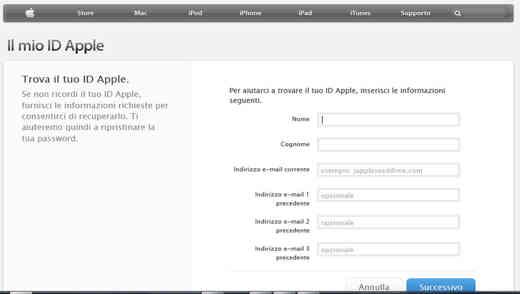 Trova il mio ID Apple
