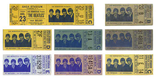 Biglietti concerto Beatles allo Shea Stadium di New York