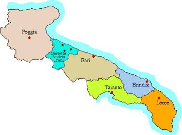 La cartina della Puglia