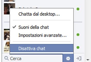 disattivare la chat di facebook per alcuni utenti