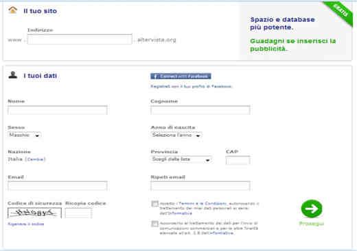 Inserimento dati sito