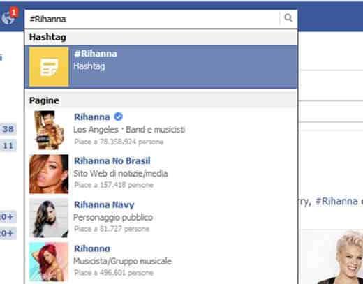 Cercare gli hashtag in FB