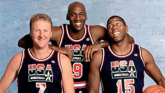 Michael Jordan, Larry Bird, Magic Johnson