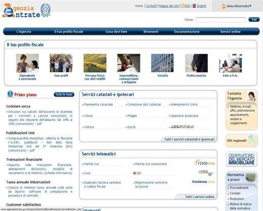 Il sito dell'Agenzia delle Entrate