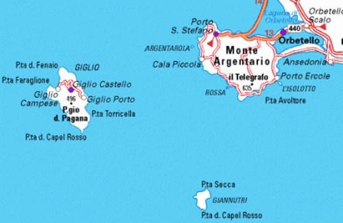 Cartina di Isola del Giglio