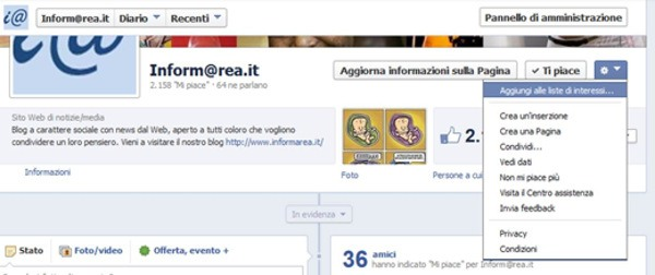 Facebook: Aggiungi alla Lista degli Interessi