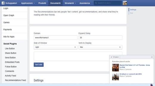 Recommendations Bar di Facebook