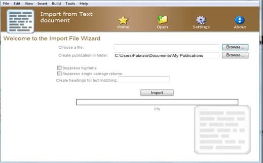 Importa documento e converti in eBook
