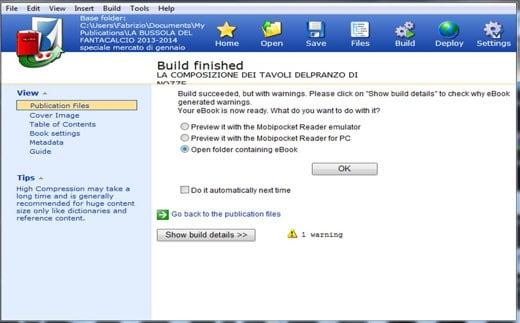 Build e Apri documento eBook