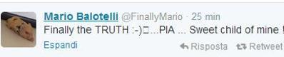 Balotelli su Twitter è il papà di Pia