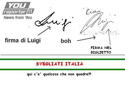 La firma di Luigi nel biglietto di addio