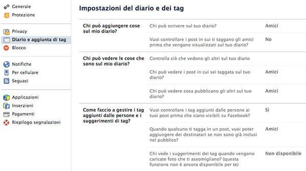 Impostazioni del Diario e dei tag