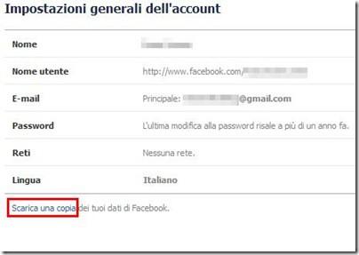 Scarica una copia dei tuoi dati di Facebook