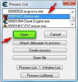 Cheat Engine Open Firefox